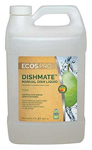 Earth Friendly Products Proline PL9720/04 Dishmate Pear Ultra-Concentrated Liquid Dishwashing Cleaner, 1 gallon Bottle