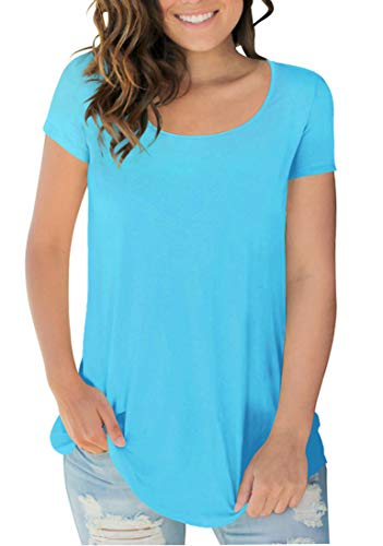 Casual Plain T Shirts Short Sleeve Crew Neck Blouse and Tops for Women Lake Blue L - Tee Neck Solid Crew
