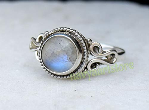 US size 8 ring white stone Rainbow moonstone ring silver ring moonstone jewelry