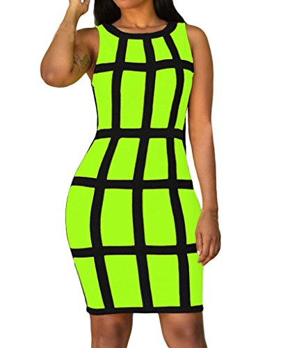 [Huusa Womens Sexy Sleeveless Bodycon Party Mini Dress Clubwear M Neon Green] (Neon Party Dresses)