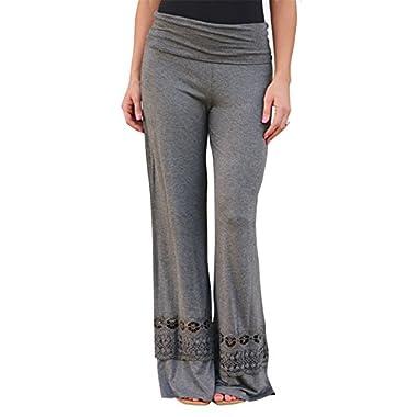 Women's New Fashion Casual Loose Lace Stiching Pants (Large, Gray)