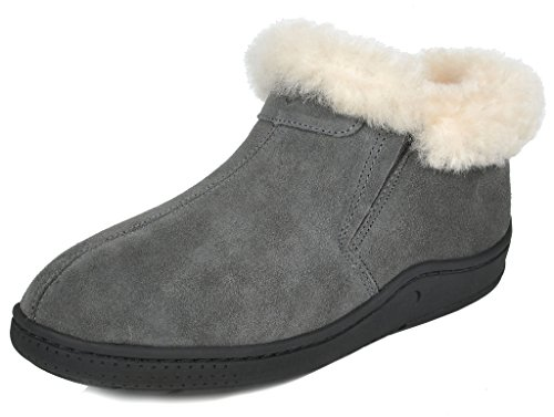 DREAM PAIRS Women's Huggie-01 Grey Sheepskin Fur Winter House Slippers - 9.5-10 M US (Sheepskin Slippers Ankle Boot)