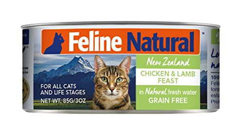 Canned Cat Food by Feline Natural - Perfect Grain Free, Healthy, Hypoallergenic Limited Ingredients - BPA-Free Wet Cat Food - Nutrition for All Cat Types - Chicken & Lamb - 3oz (24pack)