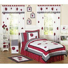 Sweet Jojo Designs 4-Piece Red and White Ladybug Polka Dot Children's Bedding Girls Twin (Ladybug Hamper Set)