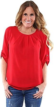 Nuevo Rojo Ruched detalle Pin Up manga frente Pullover Camisa de la blusa de para fiesta Top Casual Wear Summer tamaño UK 16 UE 44: Amazon.es: Bricolaje y herramientas