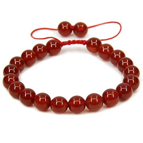 Grade Stone - Natural AA Grade Red Agate Gemstone 8mm Round Beads Adjustable Braided Macrame Tassels Chakra Reiki Bracelets 7-9 inch Unisex