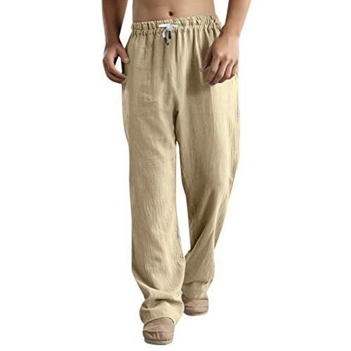 hositor Yoga Pants for Men, Men's Fashion Trousers Linen Style Loose Casual Breathable Outdoor Summer Solid Sportswear Khaki]()