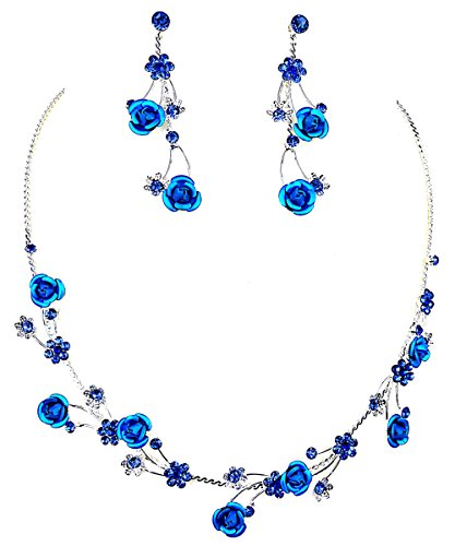 Faceted Metal Blue Rose Flower Crystal Rhinestone Necklace & Earring Set (U-Blue) (Faceted Crystal Necklace Earrings)