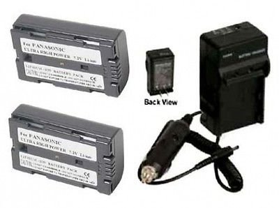 2 Batteries + Charger for Panasonic AG-HPX170, Panasonic AG-HPX170P, Panasonic AG-HVX200, Panasonic AG-HVX200A by photo High Quality
