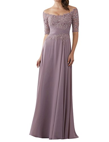 Evening Dresses Mother of The Bride Gowns with Sleeves Lace Long Chiffon Beaded Mauve US2 (Mother Of The Bride Couture Evening Gowns)