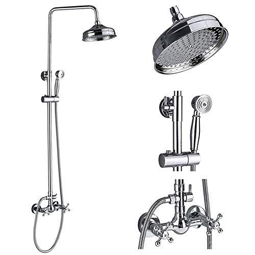 (Votamuta Chrome Finish Wall Mounted Rainfall Shower Faucet System Dual Cross Handles Bathroom Rain Shower Mixer Tap Set with Hand Sprayer)