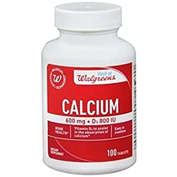 Walgreens Calcium 600mg + D3 800 IU, 100Tablets