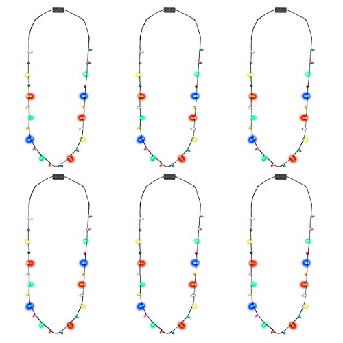 Light Up LED Christmas Holiday Bulb Necklace - 10 mini bulbs / 4 Colors (Pack of 6) ()