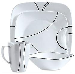 CORELLE BRANDS 1069983 Simple Lines Square Dinnerware 16-Piece Set