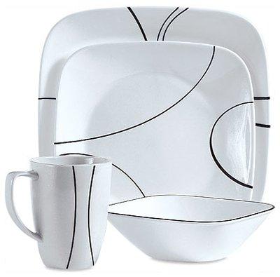 CORELLE BRANDS 1069983 Simple Lines Square Dinnerware 16-Pie