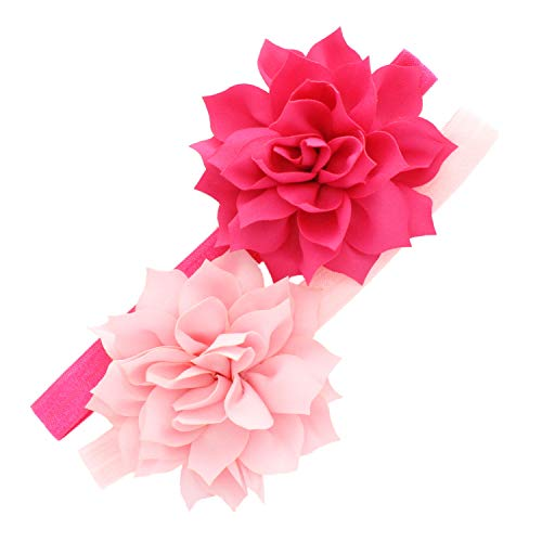 (My Lello Baby Petal Flower Headbands Mixed Colors 2-Pack (Shocking Hot Pink/Light Pink))