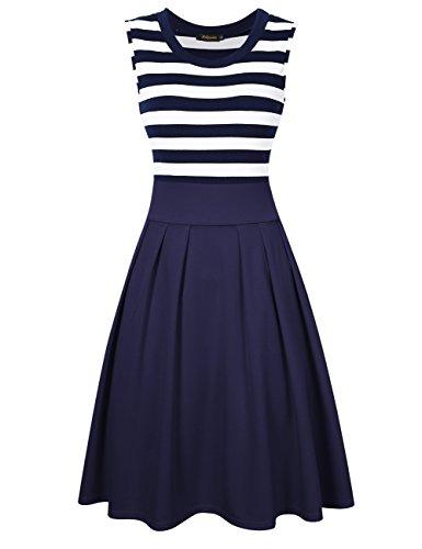 HiQueen Women Vintage Stripe A-Line Sleeveless Cocktail Casual Swing Dress (S, Blue)