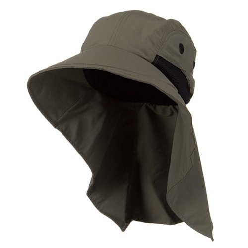Mens Wide Brim Sun Flap Hat Camping Boating Olive New