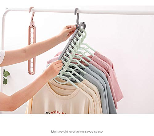 zaowuren 6Pcs Magic Hangers Cloest Space Saving-Multifunctional 9 in 1 Clothes Hangers Plastic for Daily Storage(Glay)