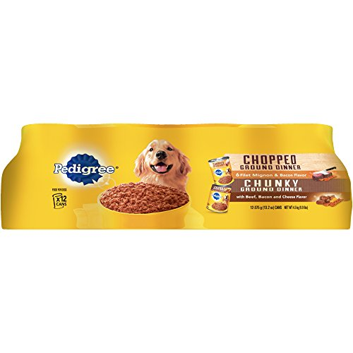 Pedigree Chopped Ground Dinner Canned Dog Food Variety Pack Featuring Bacon 13.5 oz. (12 Count)