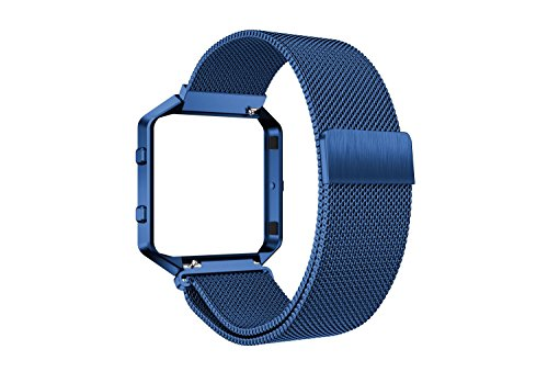 Fitbit Blaze Bands, Supore Elegant Stainless Steel Replacement Wrist Strap with Metal Frame for Fitbit Blaze Watch for Women Men, Blue