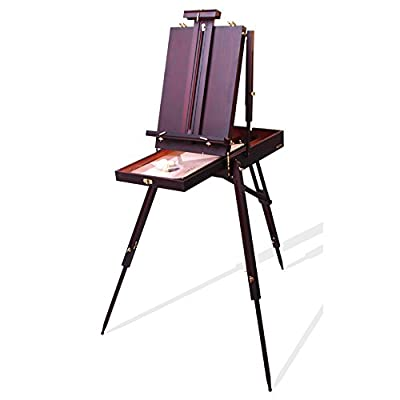 ZXL Easel Sketch Easel Box Wooden Watercolor Portable Retro Oil Painting Box