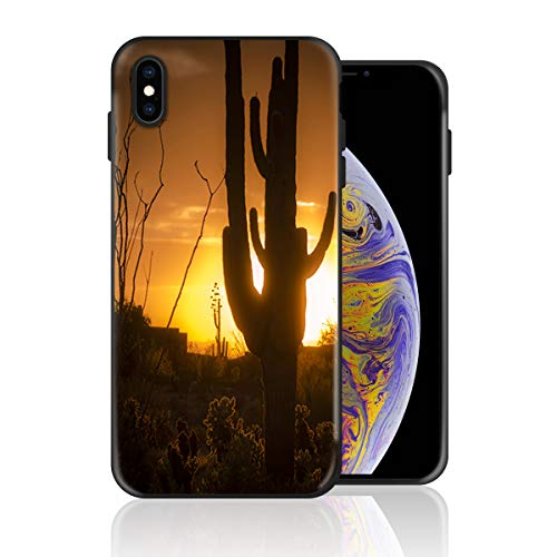Silicone Case for iPhone 8 Plus and iPhone 7 Plus, Cactus Sunset Western No Man's Land Design Printed Phone Case Full Body Protection Shockproof Anti-Scratch Drop Protection Cover
