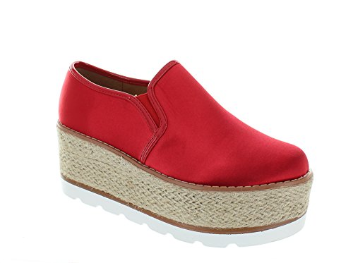 Red Platforms Heels (Urban Heels Women's Red Comfort Classic Slip-On Platform 8 US)