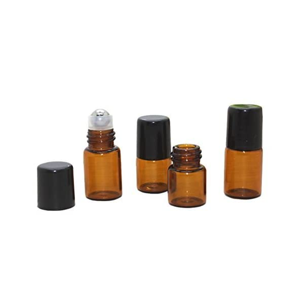 Wresty-25-Pcs-Essential-Oil-Glass-Roller-Bottles-Mini-Tiny-Refillable-Empty-Aromatherapy-Perfume-Liquid-Amber-Glass-Roll-On-Bottles-Vials-Metal-Rollerball-Bottles-Jar