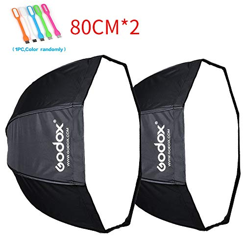 Godox32 inches /80 centimeters Umbrella Octagon Softbox, Studio Flash Reflector ,Speedlight Octagonal Soft box with Carrying Bag for Portrait or Product Photography (32 inch /80cm--2pcs)