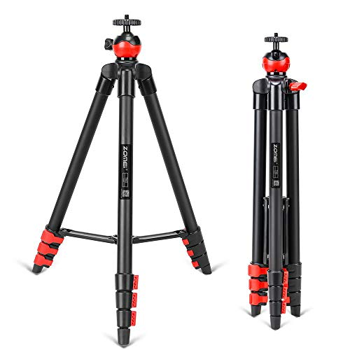 AOLVO Lightweight Travel Tripod,53 inch Flexible Portable Folding Phone Selfie Stick Tripod Stand with 360 Degree Ball Head for Smart Phone Camera YouTube Live Chat
