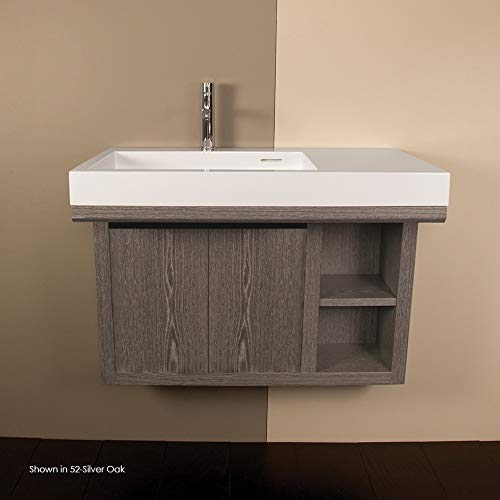(Wall-mounted under-counter vanity with two sliding doors, two open cubbies on the right, and accent light. W: 32