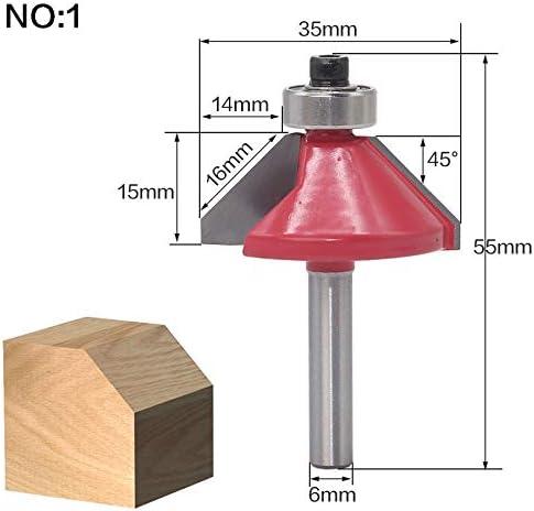 KANGF-TOOL Farbe : NO 2 1 st/ück 6mm Schaft 45 Grad Fase Schaftfr/äser Edge Forming Fr/äser Mit Kugellager Wolfram Zwei Fl/öte Fr/äser for Holz
