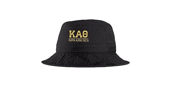 ... meet 3479e 45d41 Kappa Alpha Theta Greek Letter Bucket Hat Black at Amazon  Womens Clothing store ... 8eeefc59b649