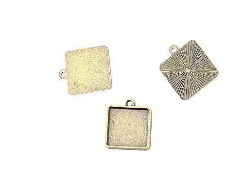 25 PCS Ancient Antique Bronze Fashion Jewelry Making Crafting Charms Findings Bulk for Bracelet Necklace Pendant Retro Accessoires Lots Vintage GZP03 Square Setting Cabochon Frame Blanks