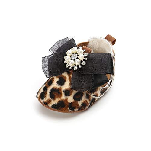 Bebés Invierno Leopardo Para zapatos Infantil Meses Zapatos Caminantes Primeros zapatillas Estampado De 0 Bebé 18 botines Auxma Suaves RgtWqw5