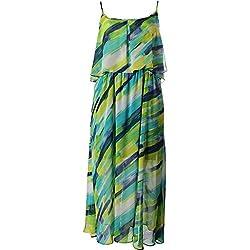 Calvin Klein Womens Plus Chiffon Printed Maxi Dress Blue 16W