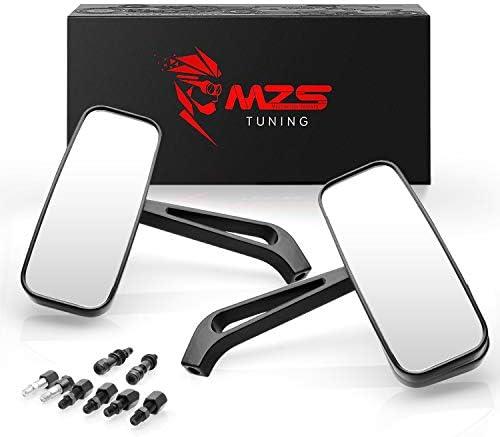 MZS オートバイ用リアビューミラー 360度調整長方形 ユニバーサル 8mm 10mm サイドミラー クルーザーチョッパー ツーリング ビクトリー ストリート 裸ロードバイク スクーター ベスプ モープ対応