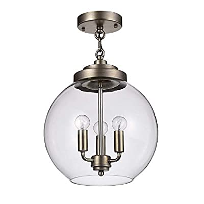 Jojospring Luna Dark Antique Silver 3-Light Clear Glass Globe Iron Semi-Flush Mount