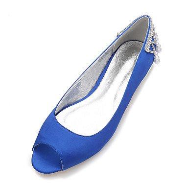 Primavera De Confort Champán UK5 EU38 Bowknot Boda US7 CN38 Heelivory amp;Amp; Satin Azul Mujeres's Noche Vestido 5 Rhinestone RTRY 5 Plana Rubí Shoes Verano Wedding wXBtF