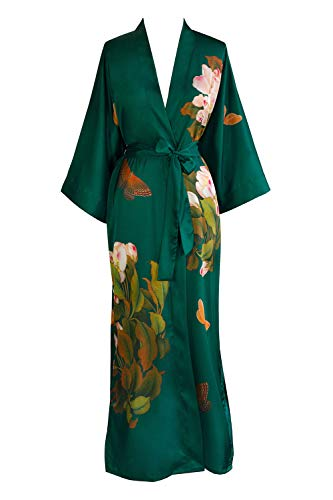 Old Shanghai Women's Kimono Robe Long - Watercolor Floral, Peony & Butterfly- Emerald,One Size.
