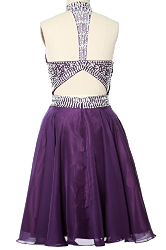 Neck Gorgeous Prom High MACloth Halter Dress Cocktail clover Formal Homecoming Gown wOqqRYa