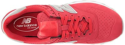 New Balance Men's ML574 Luxe Pack Fashion Sneaker, Chinese Red/Chinese Red, 11 D US