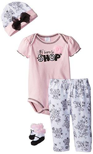Baby Essentials Baby Girls' Newborn Born to Shop 4 Pack Gift Set, Pink, 3-6 Months