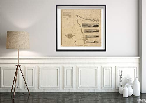 1853 Map|Chart Western Coast of The United States|Historic Antique Vintage Reprint|Size: 22x24|Ready to Frame ()