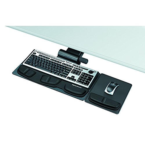 Lock Keyboard Tray System - Fellowes 8036001 Professional Premier Series Adjustable Keyboard Tray, 19w x 10-5/8d, Black