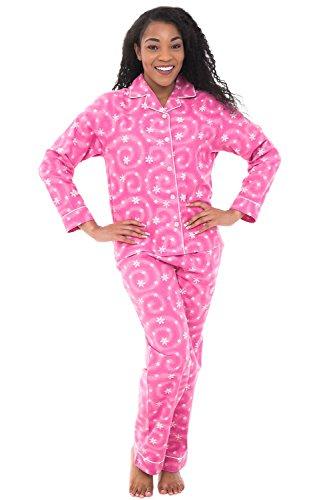 Alexander Del Rossa Womens Flannel Pajamas, Long Cotton Pj Set, XL Pink Snowflake (A0509Q55XL)