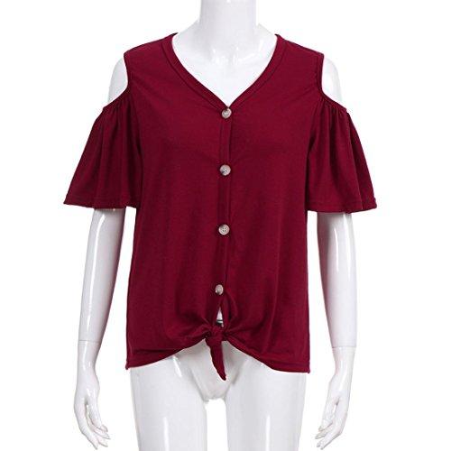 MRULIC Damen Schulterfrei Bandage Button Down T Shirt Blusen