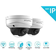 LaView LV-KPCW2DT 2-Pack Wi-Fi 1080P HD Dome Camera, Built in MicroSD Slot, Stand Alone Ready, IP67, White