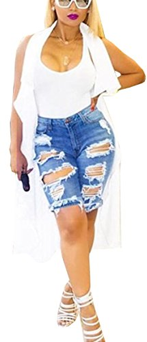 Beautisun Damen Jeans-Shorts Sommer Stretchhose Mittel Hose Hot Pants Hohe Taille W?schedenimshorts L?cher Baumwolle Holiday Nightclub Jeansshorts Bleu 1